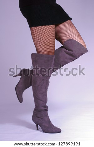 slim womens legs with high heels - stock photo