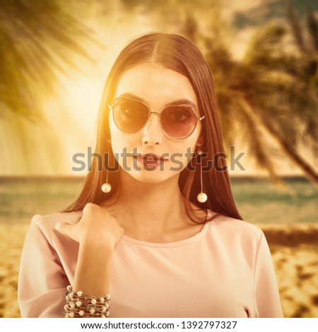 Fashion Lifestyle Beautiful Girl In The Sunglasses And