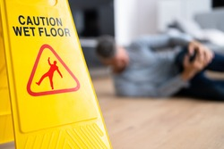 Slip Fall Accident. Floor Sign Caution And Safety