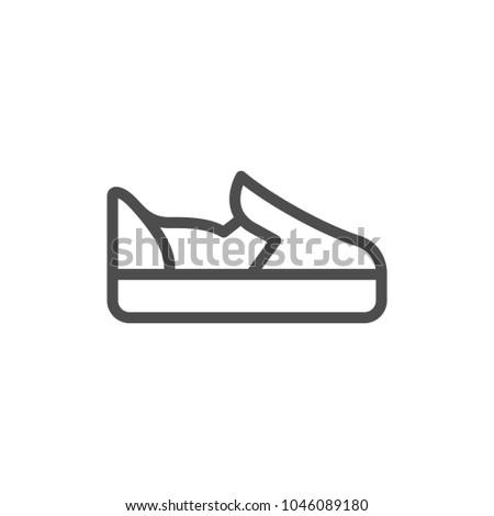 Slip-on shoe line icon isolated on white