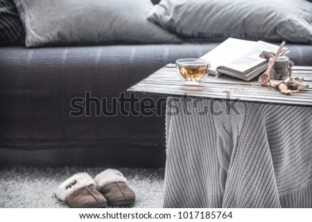 Slippers in the living room by the sofa, Cozy home atmosphere