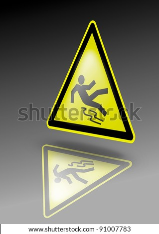 Slippery warning sign. Falling person symbol on yellow triangle. Illustration for dangerous environment or special risks