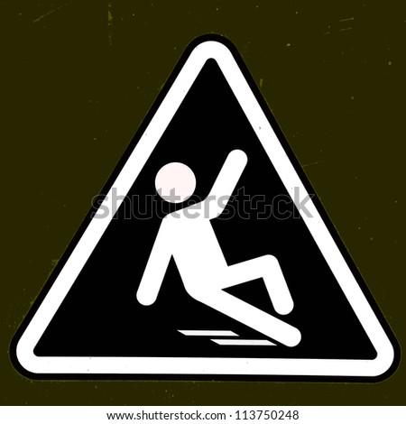 Slippery wet floor sign