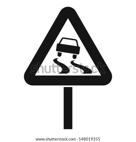 Slippery when wet road sign icon. Simple illustration of slippery when wet road sign  icon for web