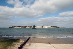 Slipway for a chain ferry at Sanbanks in Dorset with chain and view of destination in the background