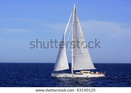 Sloop sailing in Alicante Bay, Spain