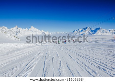 Slope on the skiing resort Chervinia. Italy. Swiss