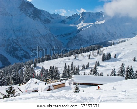 Slope on the skiing resort Elm. Switzerland