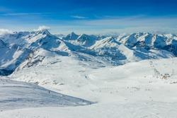 Slope on the skiing resort, European Alps