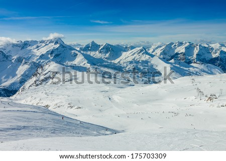 Slope on the skiing resort, European Alps #175703309