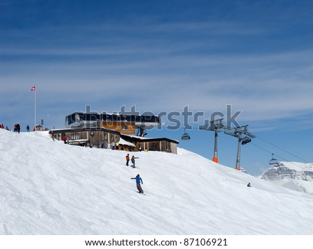 Slope on the skiing resort Flumserberg. Switzerland