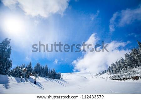Slope on the skiing resort  in Carpathians. Ukraine