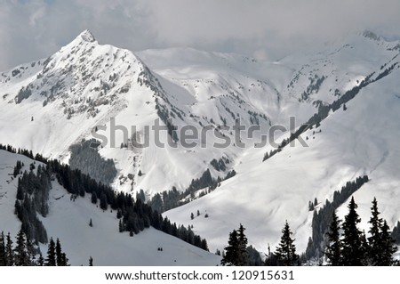 Slopes in Saalbach ski resort near Kaprun, Austrian Alps