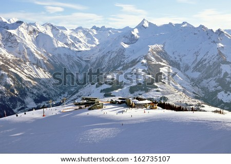 Slopes in Zell am See ski resort in the Austrian Alps