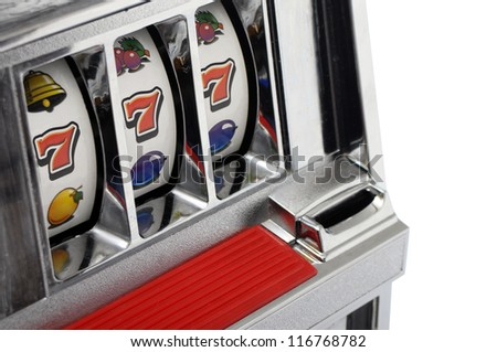 Slot machine and jackpot three seven isolated on white background