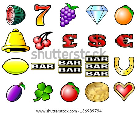 Slot machine fruits and other icon illustrations