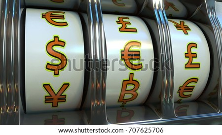 Slot Machine With Different Currencies Symbols Dollar Euro Pound
