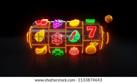 Slot Machine With Fruit Icons. Casino Gambling Concept With Neon Lights - 3D Illustration Stockfoto ©