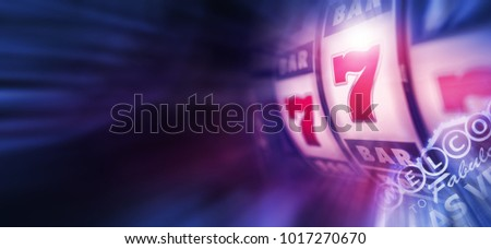 Slot Machines Play in Vegas. Bluish Violet Casino Theme Background Banner 3D Rendered illustration. One Handed Bandit Machine in the Las Vegas.