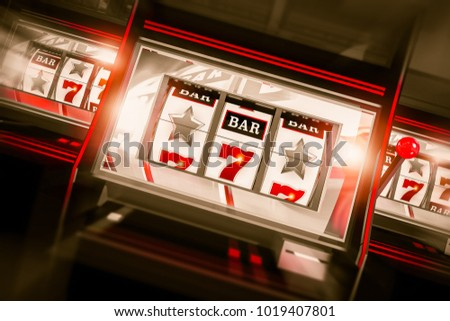 Slot Machines Spin 3D Render. Three One Handed Bandit Gambling Machines Conceptual Illustration.