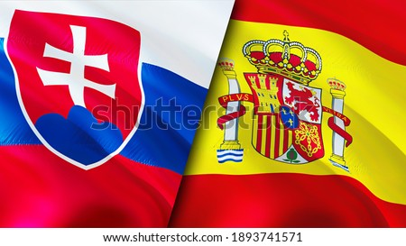 Slovakia and Spain flags. 3D Waving flag design. Slovakia Spain flag, picture, wallpaper. Slovakia vs Spain image,3D rendering. Slovakia Spain relations alliance and Trade,travel,tourism concept