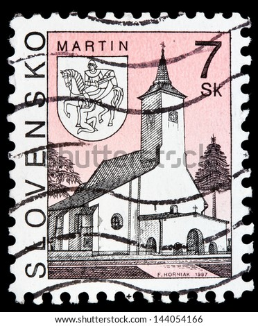 SLOVAKIA - CIRCA 1997: a stamp from Slovakia shows image of a church in Martin, circa 1997