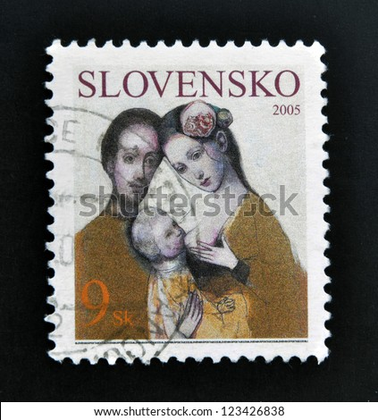 SLOVAKIA - CIRCA 2005: A stamp printed in Slovakia dedicated to family, circa 2005