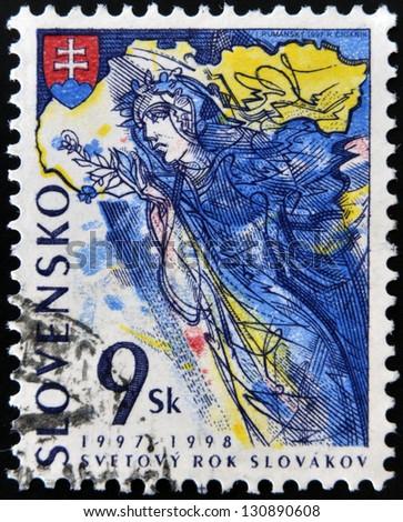 SLOVAKIA - CIRCA 1997: A stamp printed in Slovakia dedicated to World Year of Slovaks, circa 1997
