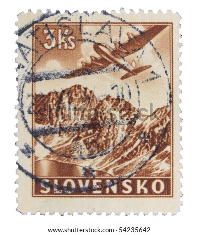 SLOVAKIA - CIRCA 1943: A stamp printed in Slovakia showing airplane circa 1943 - stock photo