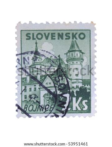 SLOVAKIA - CIRCA 1943: A stamp printed in Slovakia showing Bojnice circa 1943