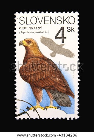 SLOVAKIA - CIRCA 1994: A stamp printed in Slovakia showing eagle circa 1994