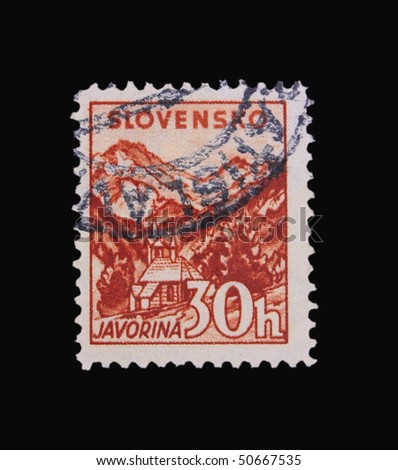 SLOVAKIA - CIRCA 1943: A stamp printed in Slovakia showing Javorina circa 1943 - stock photo
