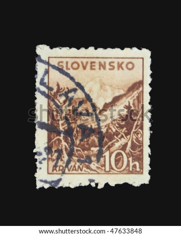 SLOVAKIA - CIRCA 1943: A stamp printed in Slovakia showing Krivan circa 1943