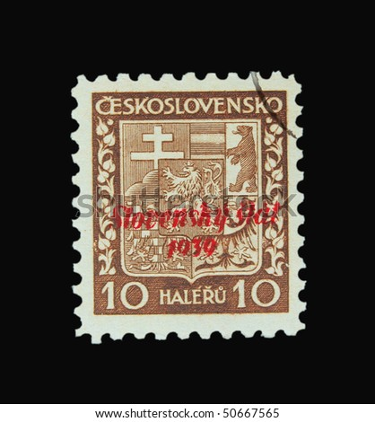 SLOVAKIA - CIRCA 1939: A stamp printed in Slovakia showing national sign circa 1939