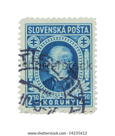 SLOVAKIA - CIRCA 1943: A stamp printed in Slovakia showing Vojtech Tuka circa 1943 - stock photo