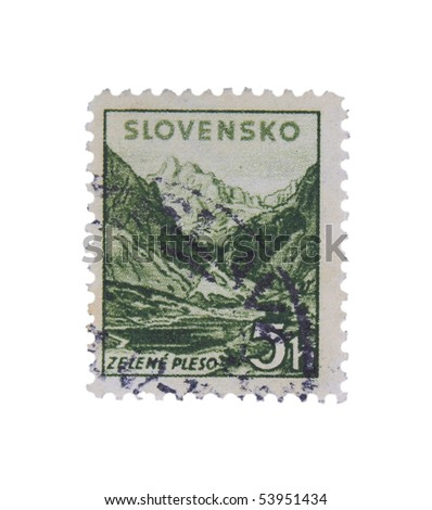 SLOVAKIA - CIRCA 1943: A stamp printed in Slovakia showing Zelene Pleso circa 1943