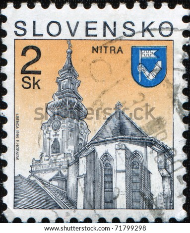 SLOVAKIA - CIRCA 1995: A stamp printed in Slovakia shows Castle of Nitra, city in western Slovakia, circa 1995