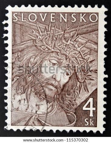 SLOVAKIA - CIRCA 2000: A stamp printed in Slovakia shows Christ, circa 2000