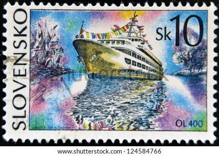SLOVAKIA - CIRCA 1994: A stamp printed in Slovakia shows cruise ship, circa 1994