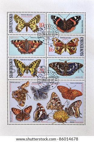 SLOVAKIA - CIRCA 2002: A stamp printed in Slovakia shows different kinds of butterflies, serie, circa 2002