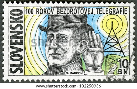 SLOVAKIA - CIRCA 1997: A stamp printed in Slovakia shows Guglielmo Marconi, inventor of radio, circa 1997 - stock photo