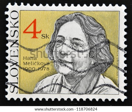SLOVAKIA - CIRCA 2000: A stamp printed in Slovakia shows Hana Melickova, circa 2000 - stock photo