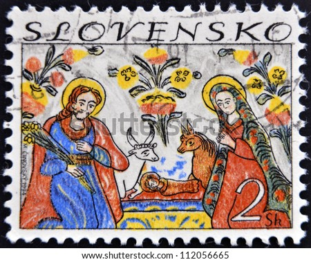 SLOVAKIA - CIRCA 1994: A stamp printed in Slovakia shows image of nativity, circa 1994