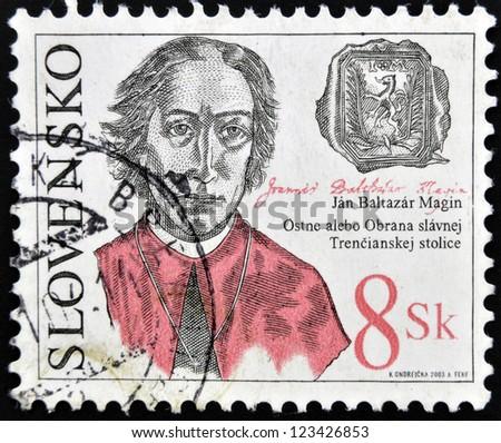 SLOVAKIA - CIRCA 2003: A stamp printed in slovakia shows Jan Baltazar Magin, circa 2003