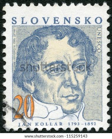 SLOVAKIA - CIRCA 1993: A stamp printed in Slovakia shows Jan Kollar (1793-1852), writer, circa 1993 - stock photo