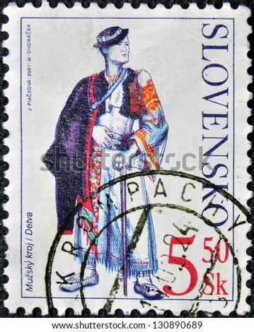 SLOVAKIA - CIRCA 2001: A stamp printed in Slovakia shows male costume Detva, circa 2001