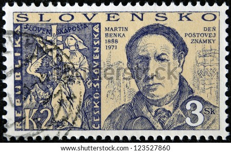 SLOVAKIA - CIRCA 1996: A stamp printed in Slovakia shows Martin Benka, circa 1996 - stock photo