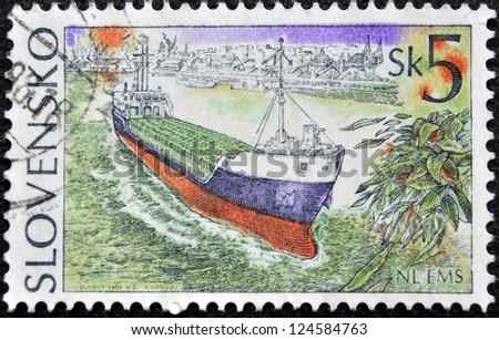 SLOVAKIA - CIRCA 1994: A stamp printed in Slovakia shows merchant ship, circa 1994