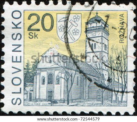 SLOVAKIA - CIRCA 2005: A stamp printed in Slovakia shows Roznava Town tower, city in Kosice Region, circa 2005