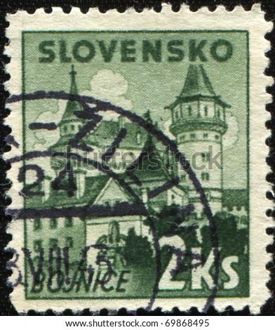 SLOVAKIA - CIRCA 1943: A stamp printed in Slovakia shows view of Bojnice, circa 1943